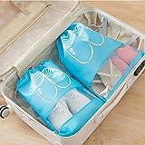 HUIHUAN 20 PCS Bolsa de almacenamiento de zapatos Bolsas de zapatos de viaje Almacenamiento no tejido impermeable con cuerda para hombres y mujeres Zapatos Organizadores de embalaje de bolsas,Blue,M