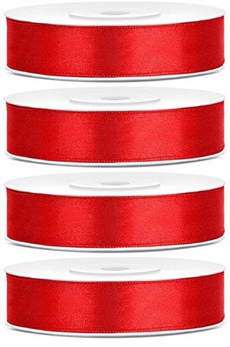 SiDeSo® Satinband 100m x 12mm (4x25m Rolle) viele Farben Hochzeit Dekoband Geschenkband Antennenband Schleifenband (rot)