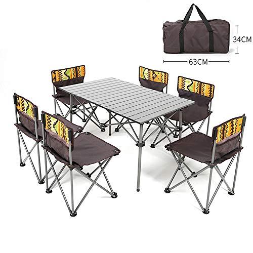Folding table Outdoor-Klapptisch und Stuhl Kombination tragbarer Klapptisch 7-teiliges Set Picknicktisch Camping-Tisch Grilltisch Freizeit-Unterhaltungstisch