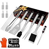 """HOMENOTE Grilling Accessories, 17PCS Grill Tools Set BBQ Tool Kit Stainless Steel Grill Sets, 16"""" Spatula Tongs, Thermometer for Barbecue, Camping, Perfect Grill Gift"""