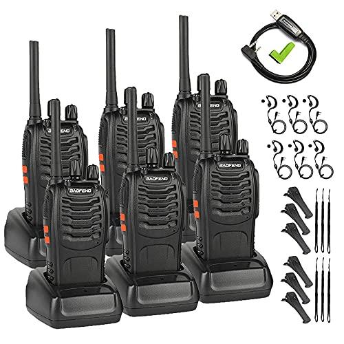 BAOFENG PMR446 Walkie Talkie Profesional, Libre de Licencia, 16 Canales, Walkie Talkie Recargables USB, versátil y fácil de Uso con Auriculars (3 Piezas de Radio +1 Cable de programación)
