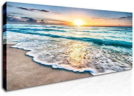 DVQ ART Sunrise Wall Art Seascape Natural Scenery Poster Prints on Canvas Stretched and Framed product image