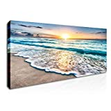 DVQ ART - Sunrise Wall Art Seascape Natural Scenery Poster Prints on Canvas Stretched and Framed Sea Wave Picture Artwork for Home Wall Decor Ready to Hang 20x40 Inch