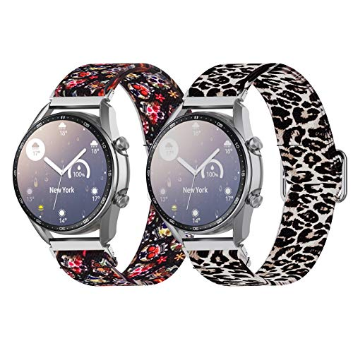 ANATYU is compatible with Galaxy Watch 3 wristband 41mm, printed elastic soft silicone sports wristband quick release PIN replacement Galaxy Watch 45mm wristband smart Watch (20mm, Skull, leopard print)