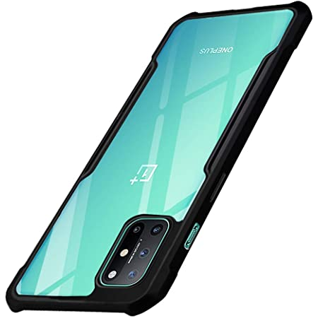 TheGiftKart Shockproof 360 Degree Protection Polycarbonate Crystal Clear Transparent Back Cover Case for OnePlus 8T (Black Bumper)