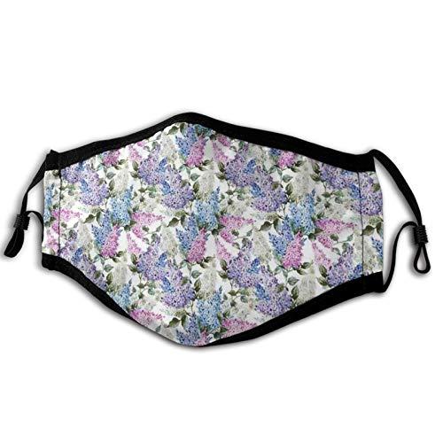 Cómoda máscara resistente al viento, coloridas flores de color lila en la temporada de efflorescencia de primavera en el país, decoraciones faciales impresas para adultos unisex