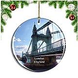 Weekino Londres Hammersmith y Fulham Bridge Reino Unido Inglaterra Decoración de Navidad Árbol de Navidad Adorno Colgante Ciudad Viaje Colección de Recuerdos Porcelana 2.85 Pulgadas