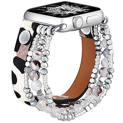 fastgo Leather Leopard Band Compatible with Apple Watch 38m 40mm Women Girls, Furry Leopard Elastic Cheetah Printed Beaded Bracelet Strap for Iwatch Series SE & 6 5 4 3 2 1 (Leopard, 38mm/40mm)