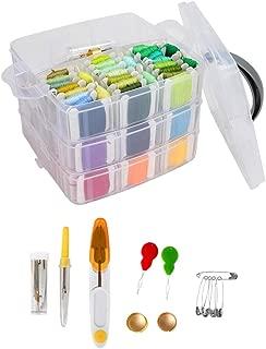 Prettyia Embroidery Kits with Organizer Storage Box,150 Colors Cross Stitch Embroidery Thread Floss Bobbins, Needle Threaders, Thimbles, Scissors, Untwist Tool