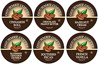 Smart Sips, Flavor Lovers Coffee Variety Sampler, Chocolate Peanut Butter, Blueberry Cinnamon Crumble, Cinnamon Roll, French Vanilla, Hazelnut, Southern Pecan - Coffee Pods for Keurig K-cup Machines