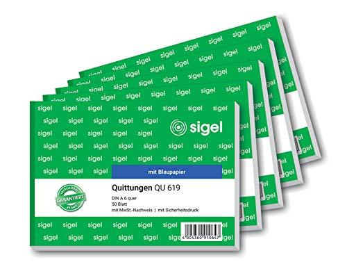 SIGEL QU619 Quittungsblock A6 quer, 5 Stück á 50 Blatt