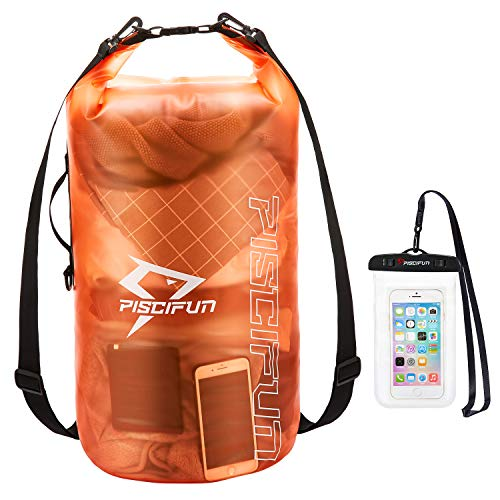 Piscifun Waterproof Dry Bag with Phone Case for Women and Men Transparent Dry Bag Lightweight Dry Bag Backpack for Beach Swimming Boating Kayaking Surfing and Fishing 2L Orange