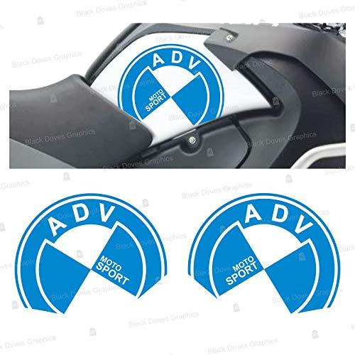 2 adhesivos ADV Moto Sport lado del depósito compatibles con R1200GS Adventure 2008-2013 R 1200 GS Motorrad Moto R1200 ADV R 1200