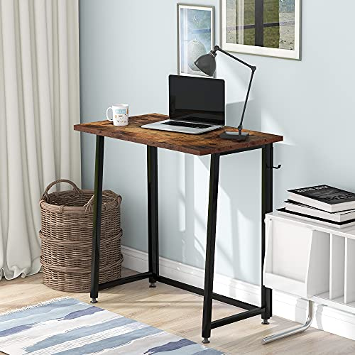 Folding Computer Desk Portable Compact Writing Study Desk for Small Spaces Home Office Desk with Metal Frame Brown