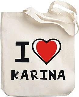 Teeburon I love Karina Bicolor Heart Canvas Tote Bag 10.5