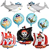 9 Pieces Pirate Themed Foil Balloons 18 Inch Pirate Shark Pattern Foil Balloon Large Pirate Ship Balloons Skeleton Squid Pattern Balloon for Halloween Happy Birthday Party Supplies Decoration