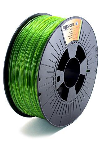 BASICFIL PET 1.75mm, 1 kg filamento de impresión 3D, Verde transparente