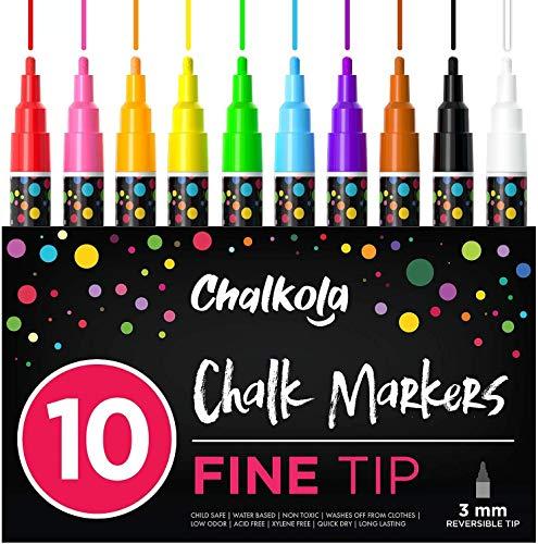 Fine Tip Chalk Markers (10 Pack 3mm) - Bold Color Erasable Dry Erase Marker Pens for Blackboards, Chalkboard, Window, Bistro - 3mm Reversible Bullet & Chisel Point