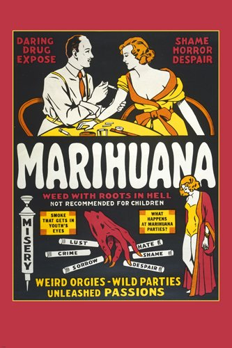 VINTAGE ANTI-MARIJUANA PROPOGANDA poster FUNNY scolding colorful 24X36