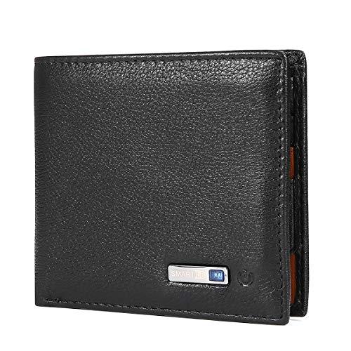 Herren Geldbörse, JOSEKO Anti Diebstahl Original Leder Geldbeutel Retro Smart Bluetooth Bifold Portemonnaie Brieftasche Portmonee Wallet Schwarz 01