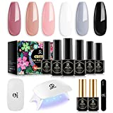 MEFA Gel Nail Polish Kit with Mini Lamp 6 PCS Perfect Colors for Summer No Wipe Base and Mirror Top Coat, Manicure Gel Nail Kit for Beginner, Manicure Tools Salon at Home Gift for Woman/Girl