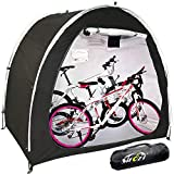 Outdoor Bike Cover Storage Shed Tent, 210d Silver Coated Oxford Cloth Portable Waterproof Tidy Foldable Bicycle Shelter, Space Saving for Camping Garden Tool Motorcycle Large Covers (Black)