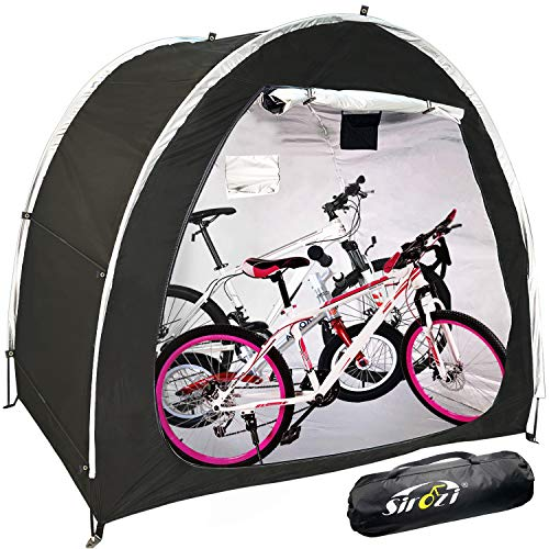 Bike Covers Storage Shed Tent, 210D Silver Coated Oxford Cloth Space Saving Bike Cover Shelter with Window Design, Outdoor Waterproof Portable Bicycle Motorcycle Storage Canopy Covers (Black)