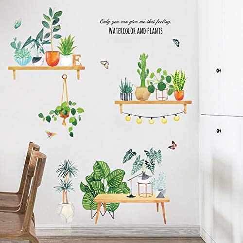 Nordic ins Wind Plant in Pot peque n00 os Frescoes pegatinas de pared Stickers dormitorio c a00ute aacute; lido dormitorio decoraci oacute; n de pared mesa colgante Groen in Grote vaas