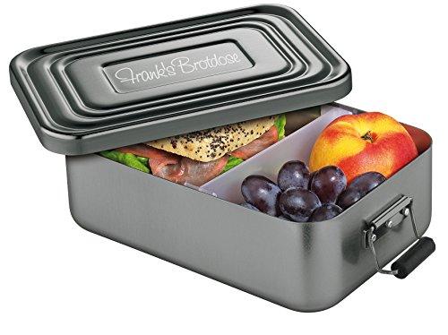 Küchenprofi Lunchbox Aluminium Anthrazit, inkl. Wunsch-Gravur auf dem Deckel (groß (23 x 15 x 7 cm))