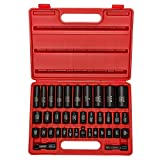 NEIKO 02443A 3/8' and 1/2' Drive Master Impact Socket Set | 38 Piece | Standard SAE (Inch) and Metric (mm) Sizes Below | Deep and Shallow Kit | Cr-V Steel | Includes Duometric Sockets