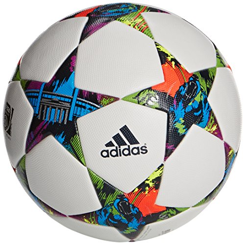 adidas Fussball Finale Berlin OMB Offizieller Spielball, White/Solar Blue2 S14/Flash Green S15, 36 x 44 x 1 cm, 3 Liter