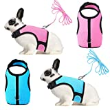 SATINIOR 2 Pieces Bunny Rabbit Harness with Leash Cute Adjustable Buckle Breathable Mesh Vest for Kitten Puppy Small Pets Walking (L, Blue, Pink)
