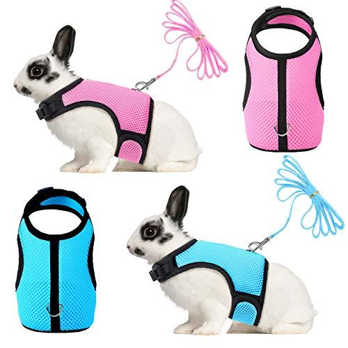 2 Stücke Hase Kaninchen Geschirr mit Leine Niedliche Verstellbare Schnalle Atmungsaktive Mesh Weste für Kätzchen Hündchen Klein Haustiere Gehen (Blau, Rosa, L)