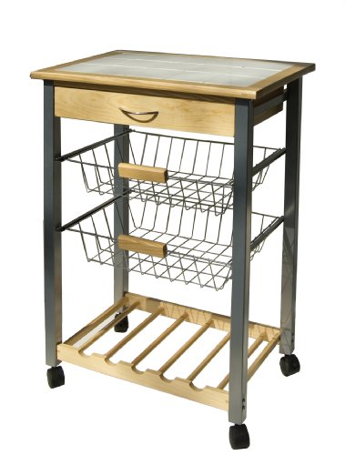 Organize It All 34122W-1 Serving Cart, 30 in. high x 14 1/2 in. Wide x 22 1/2 in. Long, Tan, White, Black, Silver