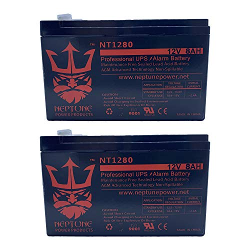 KT-1280 12V 8Ah Real Capacity 8.0 Amp 20Hrs Battery SLA Sealed Lead Acid/AGM by Neptune (2) Pack