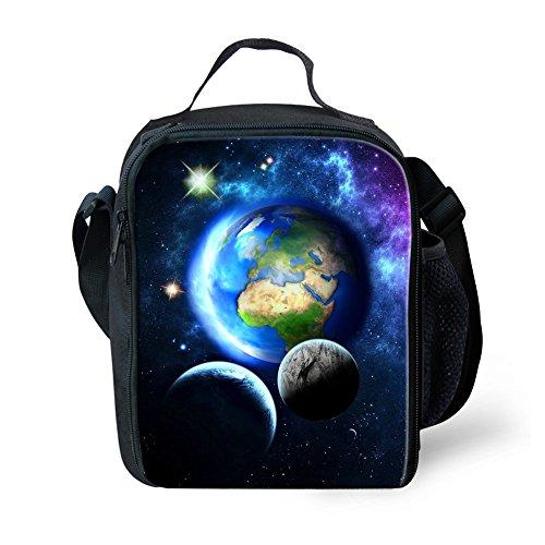 Hugsidea Bolsa de almuerzo infantil con bolsillo para botella de agua,diseño de galaxia