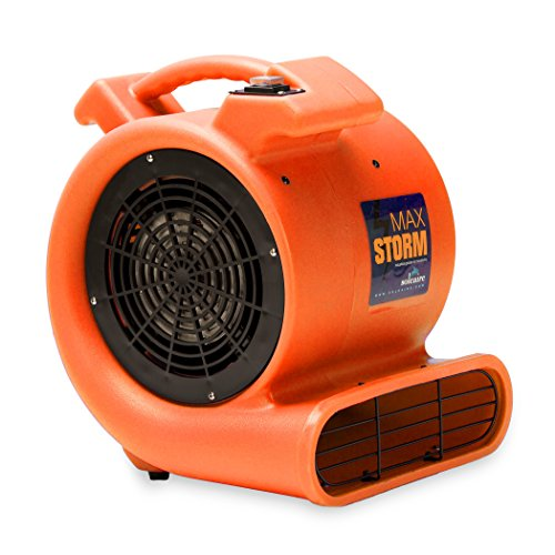 Max Storm 1/2 HP Durable Lightweight Air Mover Carpet Dryer Blower Floor Fan for Pro Janitorial Cleaner, Orange