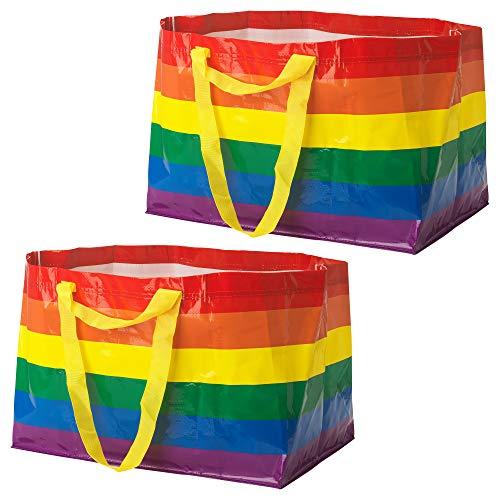 Ikea StorstoMMA (Frakta) Große 71L Pride Rainbow wiederverwendbare Tragetaschen, 2 Stück