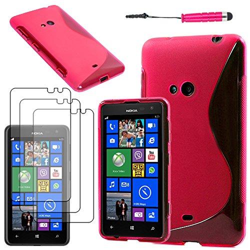 ebestStar - Coque Compatible avec Nokia Lumia 625 Etui Housse Silicone Gel TPU Souple Motif S-Line + Mini Stylet + 3 Films d'écran, Rose [Appareil: 133.3 x 72.3 x 9.2mm, 4.7'']