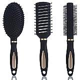 Xinlie Cepillo Para El Pelo Cepillo Cabello Styling Tools/Hairbrushes Cepillo de Pelo Set de Cepillos de Pelo Luxury para el Cabello-Cepillo Plano,Cepillo Redondo Cilíndrico de Secado y Peine(3Piezas)