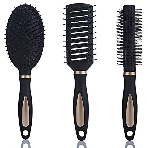 Xinlie Brosses à Cheveux Peigne à Crêper D'Ensemble de Brosse à Cheveux Brosse Démêlante Brosse à Palette Brosse à Cheveux Ronde Peigne de Queue Brosse Sèche Humide pour Tous Types de Cheveux(3Pièces)