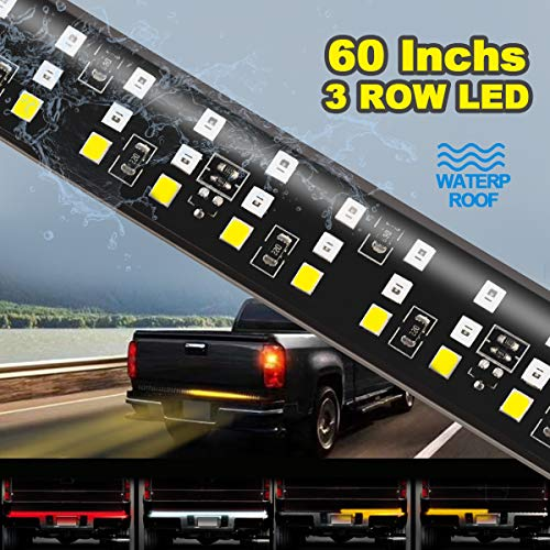 60' Triple LED Tailgate Light Bar, Triple Row Pickup Light w/Sequential Amber Turn Signal, LED Solid Beam - Weatherproof No Drill Install - Full Function Reverse Brake Running