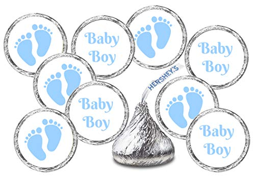 324 Baby Boy Blue Footprints Kisses Labels for Baby Shower Or Baby Sprinkle Party Or Event Decorations, Stickers, Wrappers, Favors