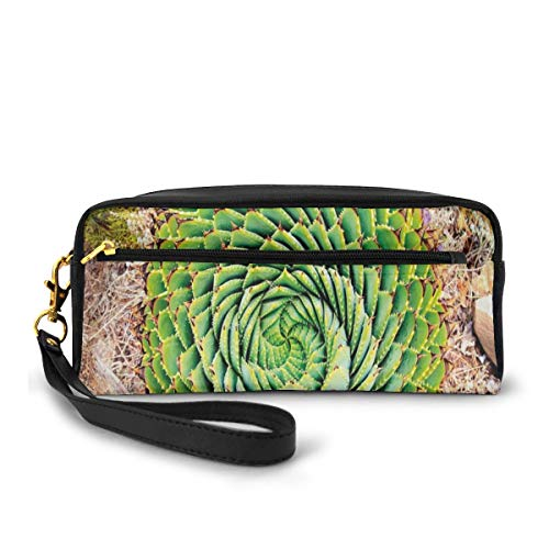 Pencil Case Pen Bag Pouch Stationary,National Flower Of Lesotho South Of Africa Aloe Polyphylla Spinning Spiral Aloe Vera,Small Makeup Bag Coin Purse