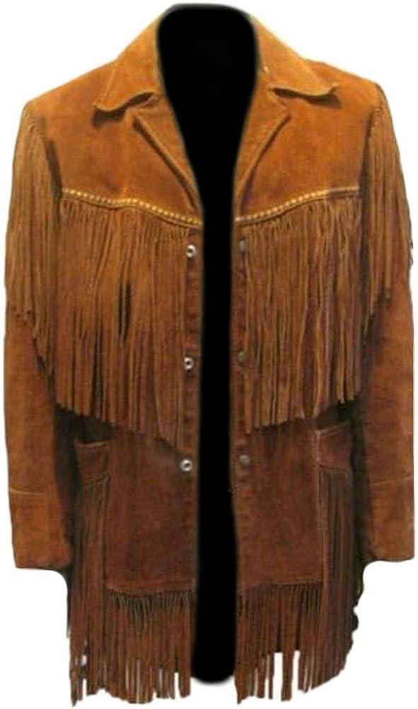 SRHides Men's Fashion Fringed Suede Leather Jacket