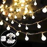 B-right 40 LED Globe Lichterkette glühbirne, Lichterkette batterie, batteriebetrieben, warmweiß Innen und Außen Lichterkette Weihnachtsbeleuchtung für kinderzimmer Weihnachten Hochzeit Weihnachtsbaum