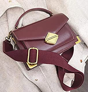 Adebie - Luxury Handbag Vintage Fashion Tote Bag 2019 New High Quality PU Leather Women's Designer Handbag Lock Shoulder Messenger Bags 20 X 8 X 14 cm Burgundy []
