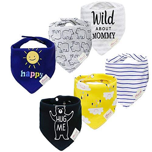 Yafane Baberos de alimentación súper absorbentes de algodón con broches para bebé-niños Pack de 6