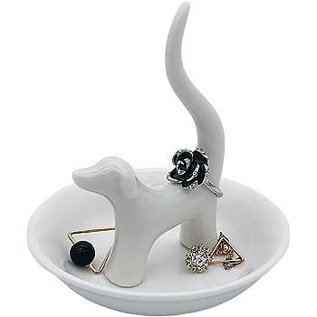 HOME SMILE Dog Jewelry Ring Dish Holder, Elegant Glazed Ceramic Engagement Wedding Ring Trinket Tray Stand