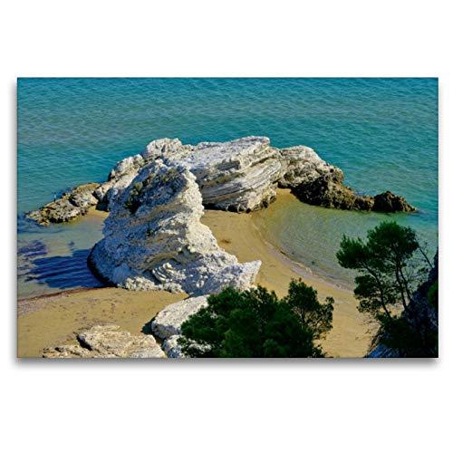 Premium Textil-Leinwand 120 x 80 cm Quer-Format Strand in Apulien   Wandbild, HD-Bild auf Keilrahmen, Fertigbild auf hochwertigem Vlies, Leinwanddruck von LianeM